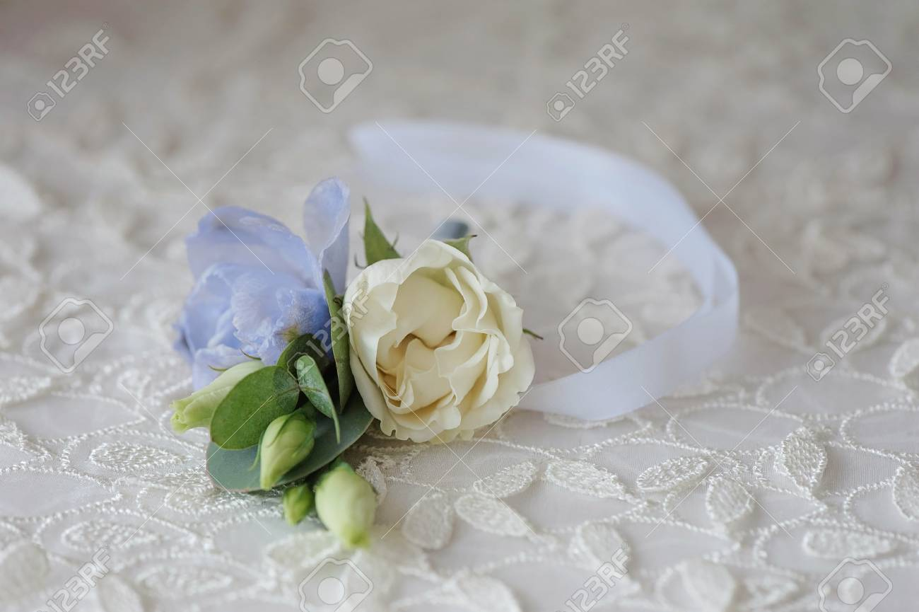 Wedding Boutonniere Flower Roses And Blue Delphinium White Ribbon