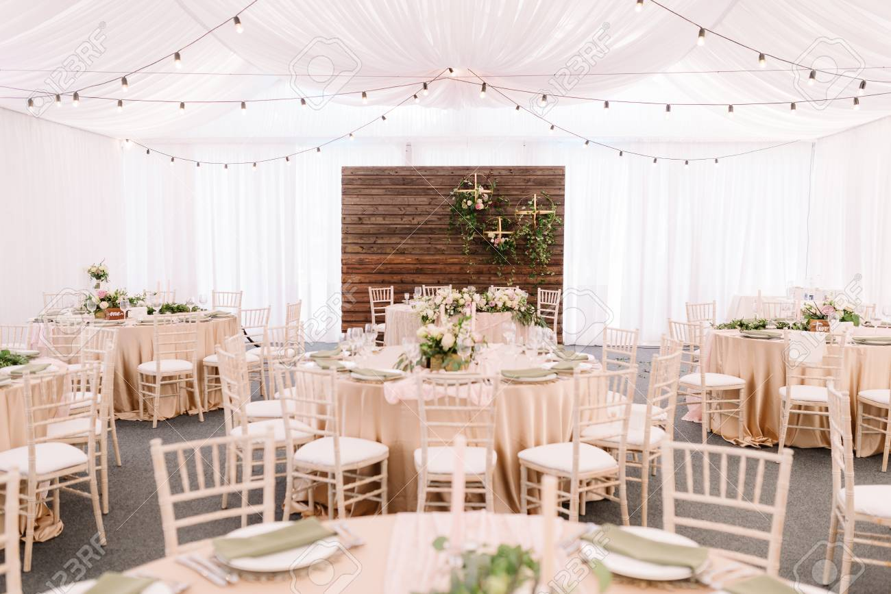 Wedding Decorated Restaurant In Light Colors And Rustic Style Stock Photo Picture And Royalty Free Image Image 89104624