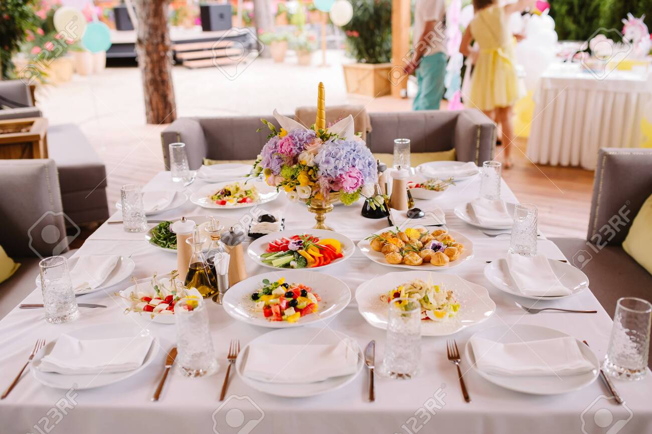 Festive Food On The Table At The Restaurant Stylish Decoration Stock Photo Picture And Royalty Free Image Image 138914401