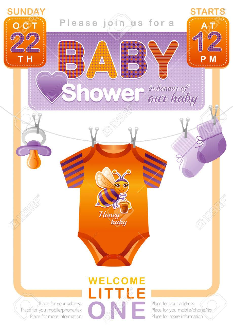 Unisex Baby Shower Invitation Design With Body Suit Socks Soother
