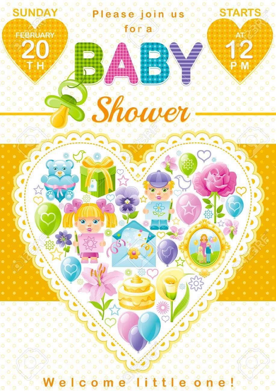 Baby shower invitation design in unisex yellow color for boy baby shower invitation design in unisex yellow color for boy or girl with child icon set filmwisefo