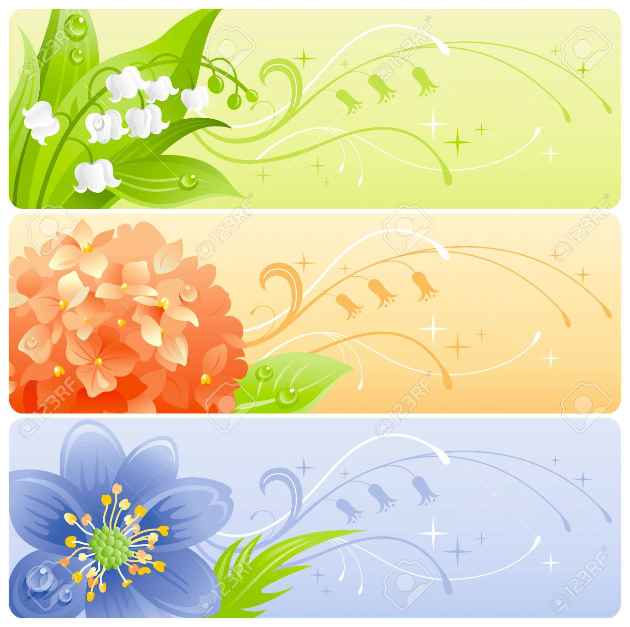 Summer Flowers Banner Set With Natural Background. Lily Of The ...