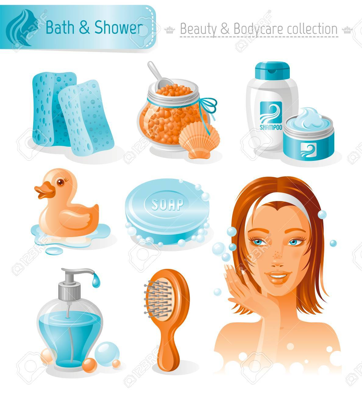 Beauty and cosmetics icon set with beautiful young adult woman, holding hand near face on white background. Bath and shower healthy lifestyle symbols for peoples hair, skin and body care. - 59806440