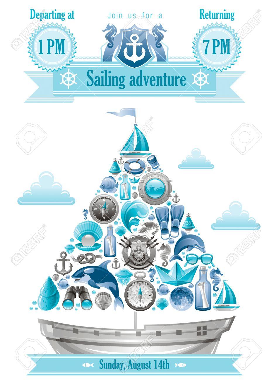 sea sommer reise banner einladung design mit segelboot und icon, Einladung