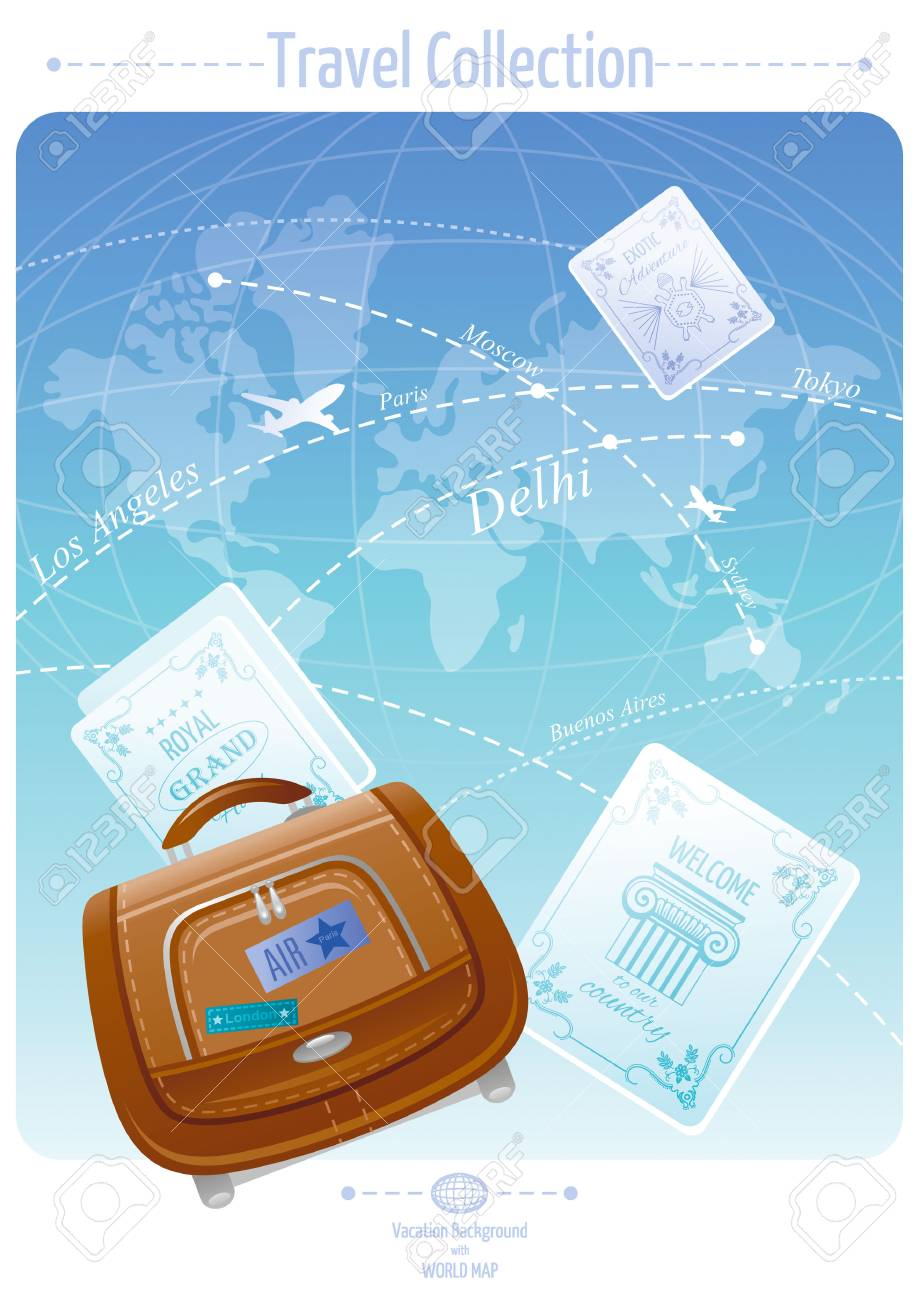 Vacation and travel banner concept design with world map background vacation and travel banner concept design with world map background luggage labels and suitcase bag gumiabroncs Choice Image