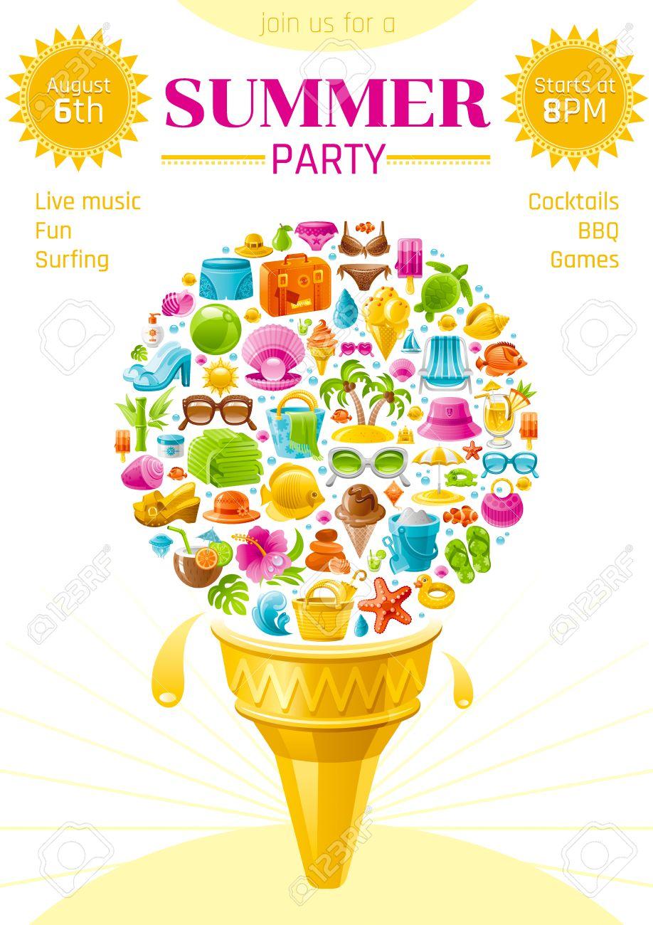 Beach Sea Summer Party Invitation Card With Travel Symbols Icon ...
