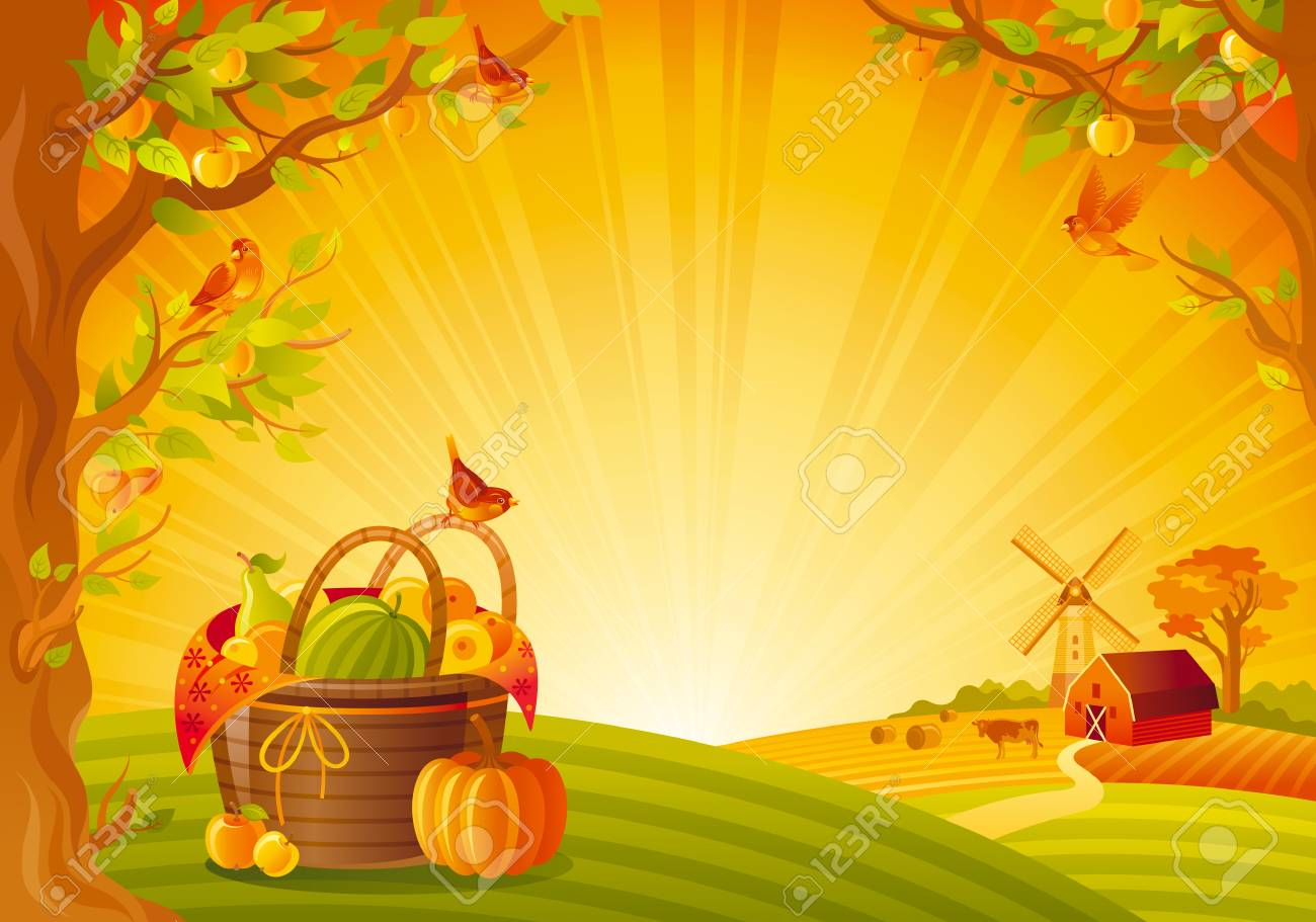 Thanksgiving Day Vector Illustration Beautiful Autumn Landscape Sunny Background Modern Elegant Copy