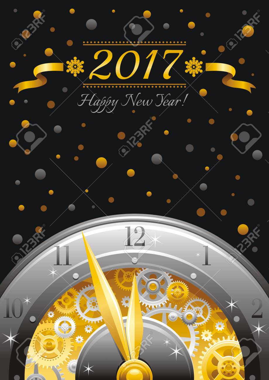 merry christmas and new year 2017 frame border greeting card design with clockwork cogwheel