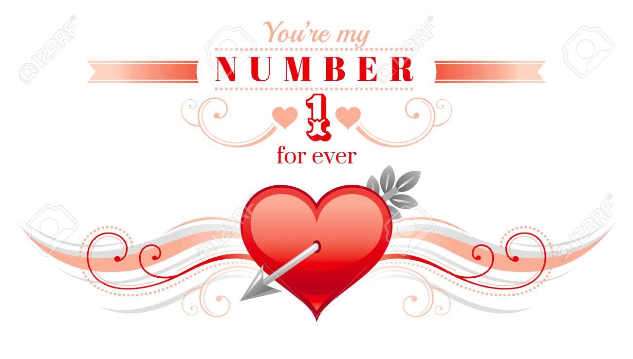 Happy Valentines Tag Grenze, Amorpfeil Herz. Romantik, Liebe Text ...