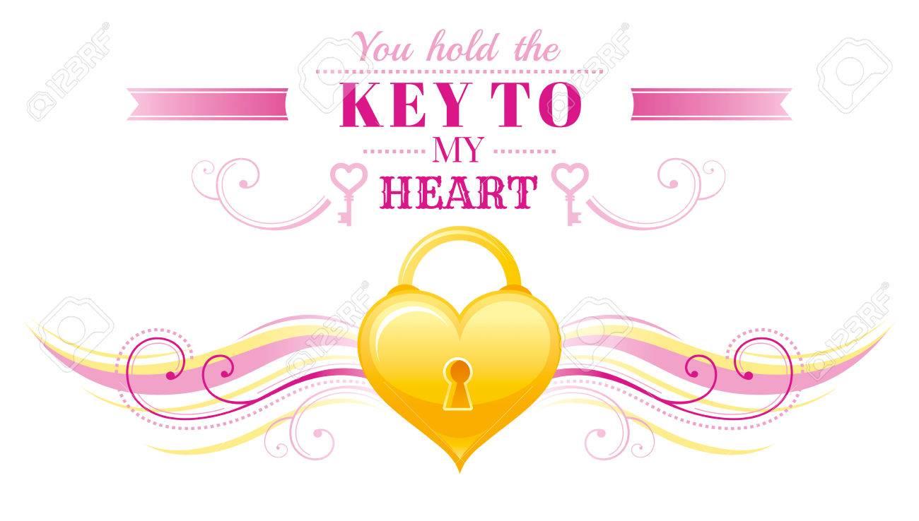 Happy Valentines Day Border Locked Golden Heart Key Romance