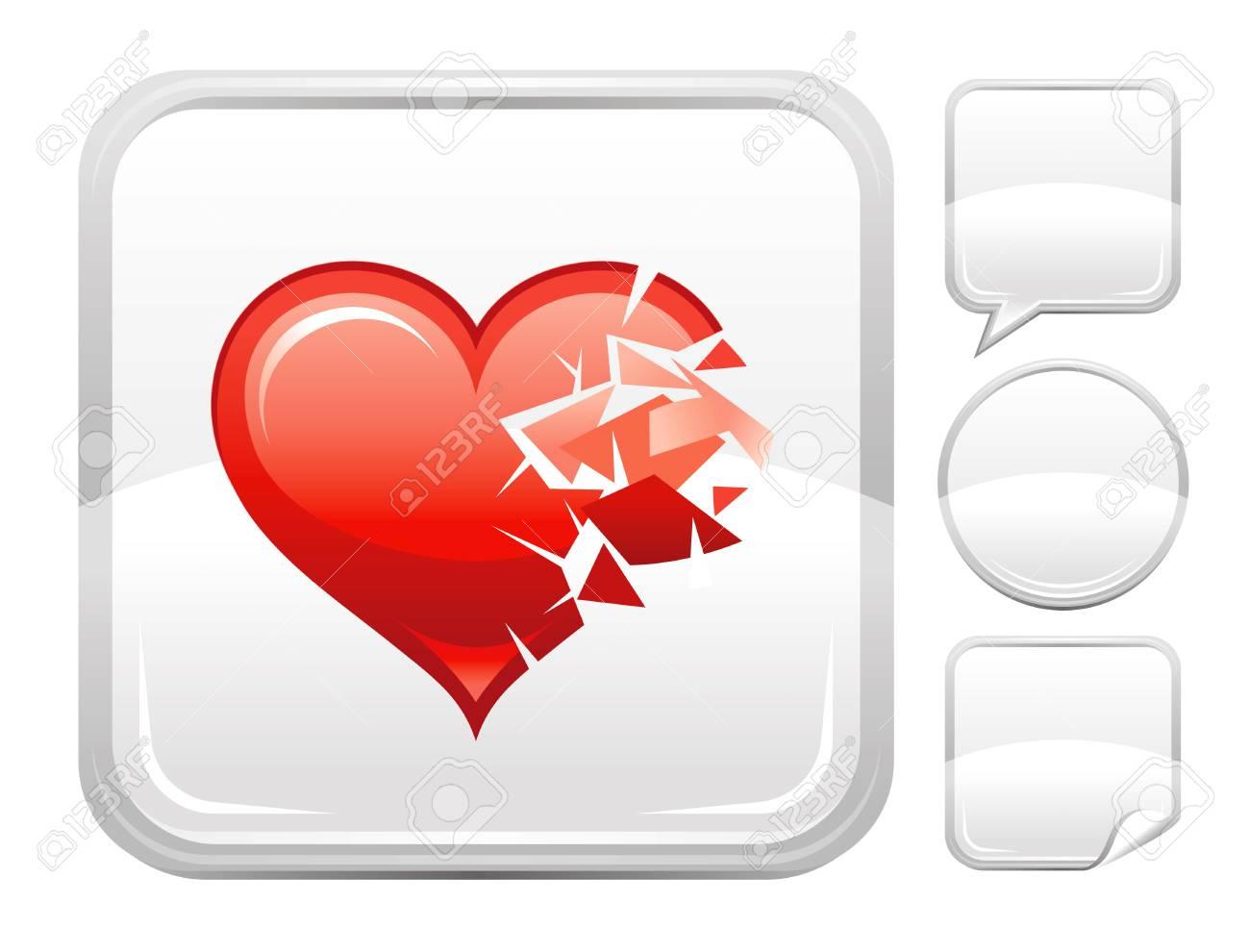 Joyeux Amour De La Saint Valentin Icone De Coeur Brise Isole Sur