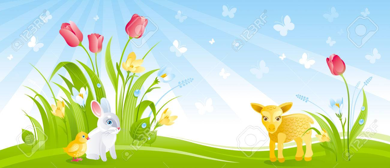 Happy Easter Banner Border Spring Landscape Blue Sky Bunny Rabbit Chicken