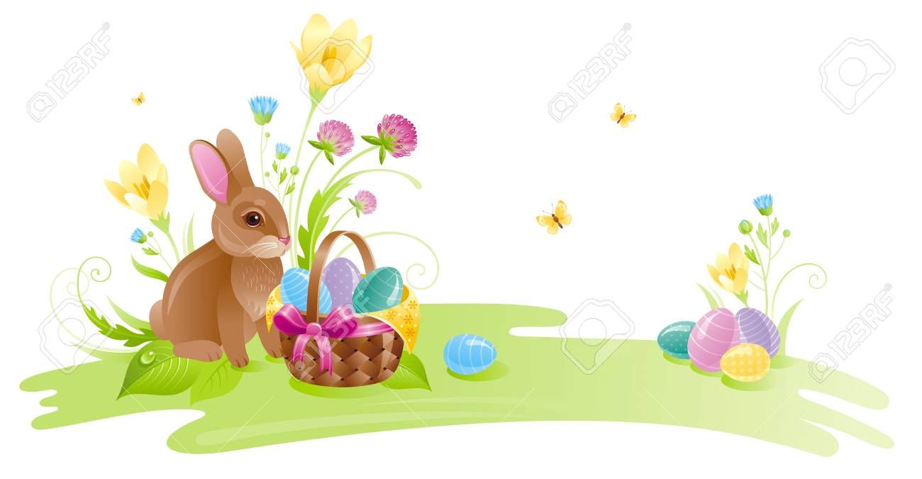 Happy Easter Horizontal Banner Border Spring Landscape Bunny Rabbit Colored Egg Crocus Clover
