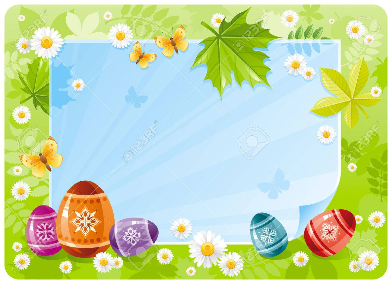 Happy Easter Banner Border Spring Scene Green Grass Blue Sky Rainbow Egg
