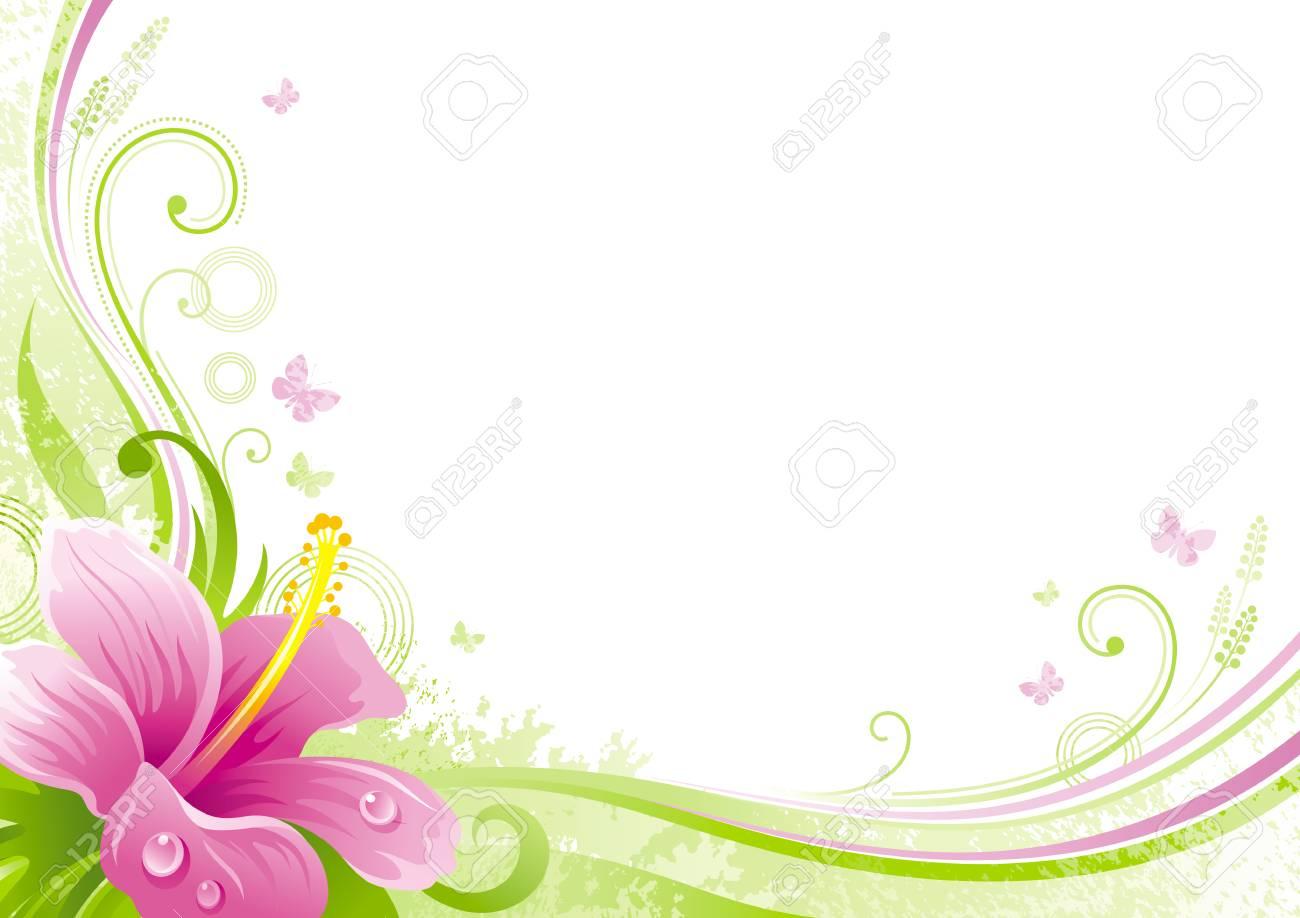 Primavera Pascua Día De La Madre Cumpleaños Invitación De La Boda Flor De Hibisco Hoja Patrón Floral Ilustración Moderna Aislada Feliz