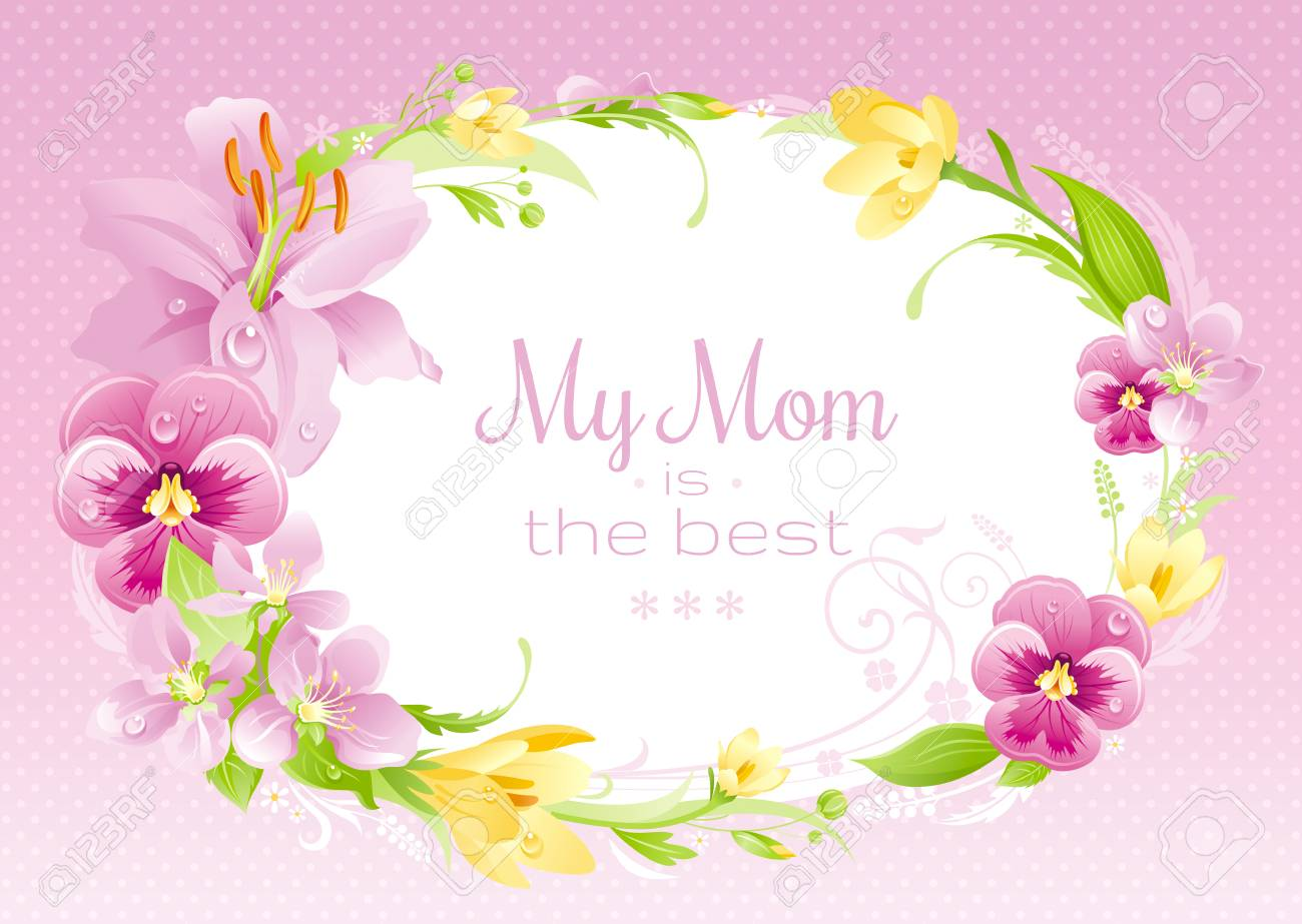 Spring Background Happy Mothers Day Flyer Flower Frame Lily