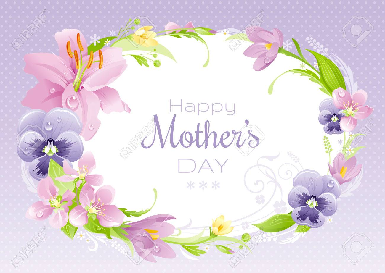 Spring Background. Happy Mothers Day Flyer. Flower Frame Lily ...
