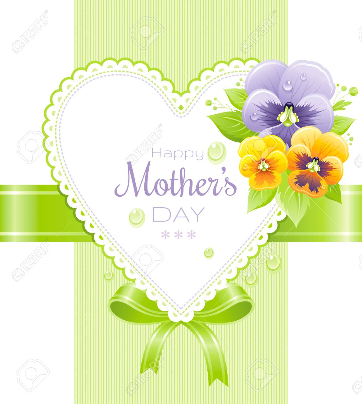 Happy Mothers Day Greeting Card Design Violet Pansies On Green