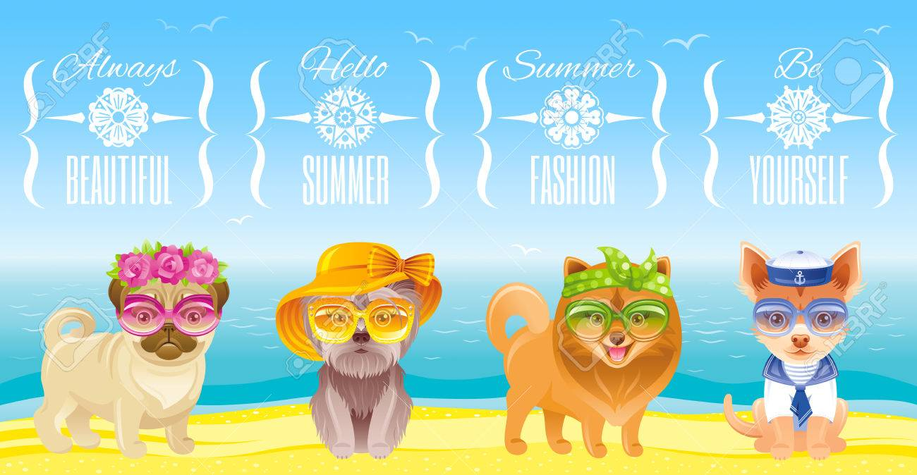 b8bd17b49b Summer Fashion Puppy Dog Icon Set In Sweet Retro Clothes. Terrier ...