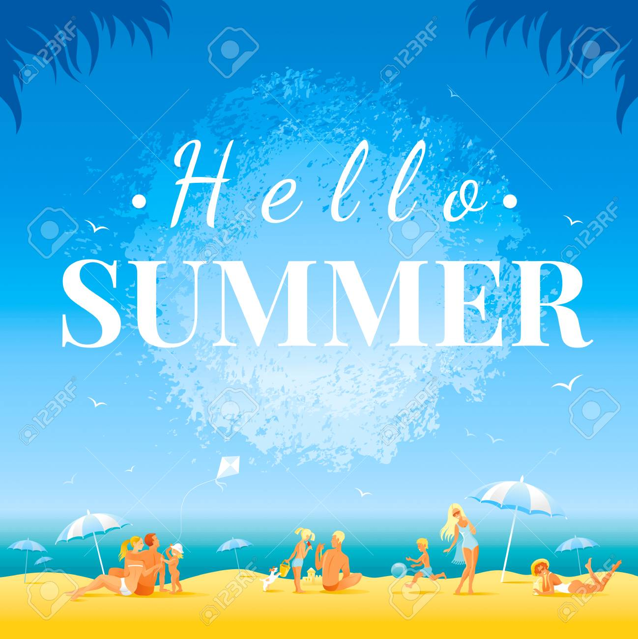 Hello Summer Banner Day Landscape, Sea Beach Background, Sun Watercolor  Splash With Text Lettering