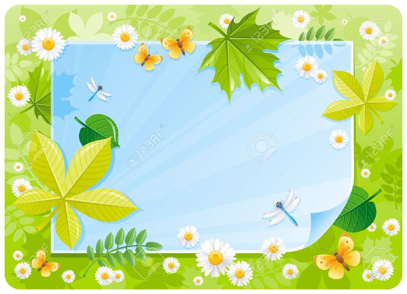 Spring banner border cute forest scene green grass blue sky spring banner border cute forest scene green grass blue sky daisy flower izmirmasajfo