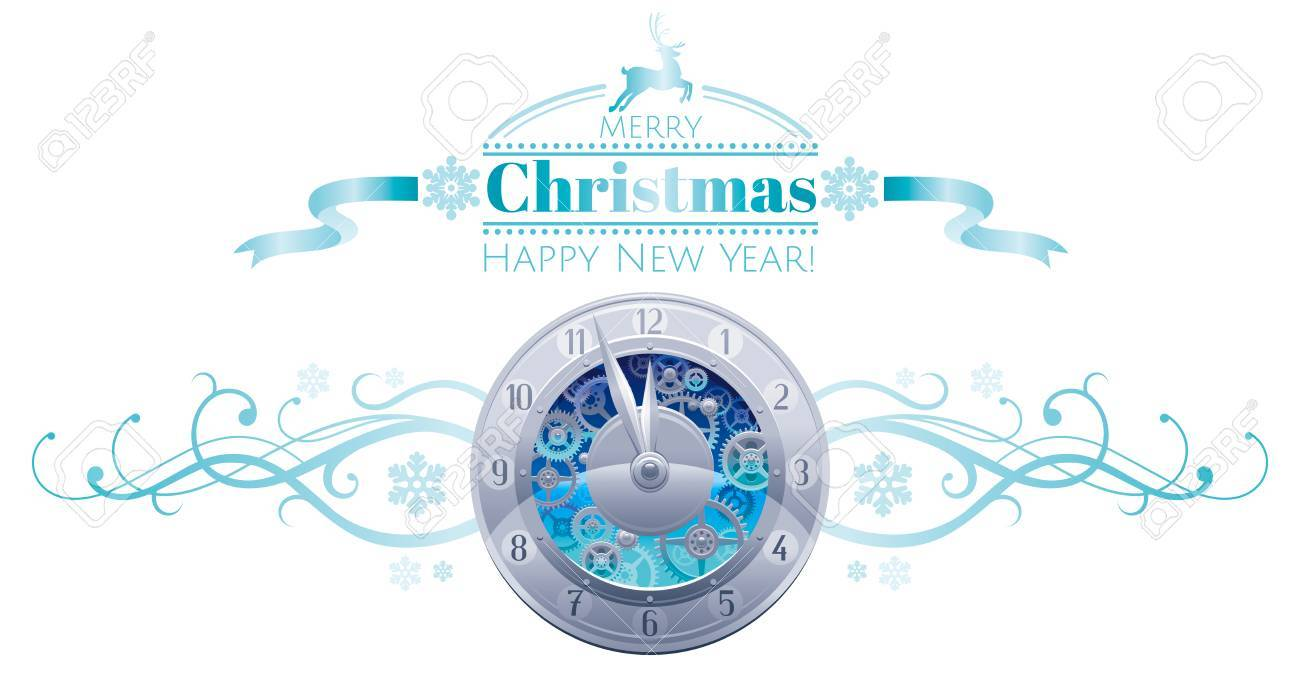 merry christmas happy new year holiday border banner isolated white background silver clock midnight dial