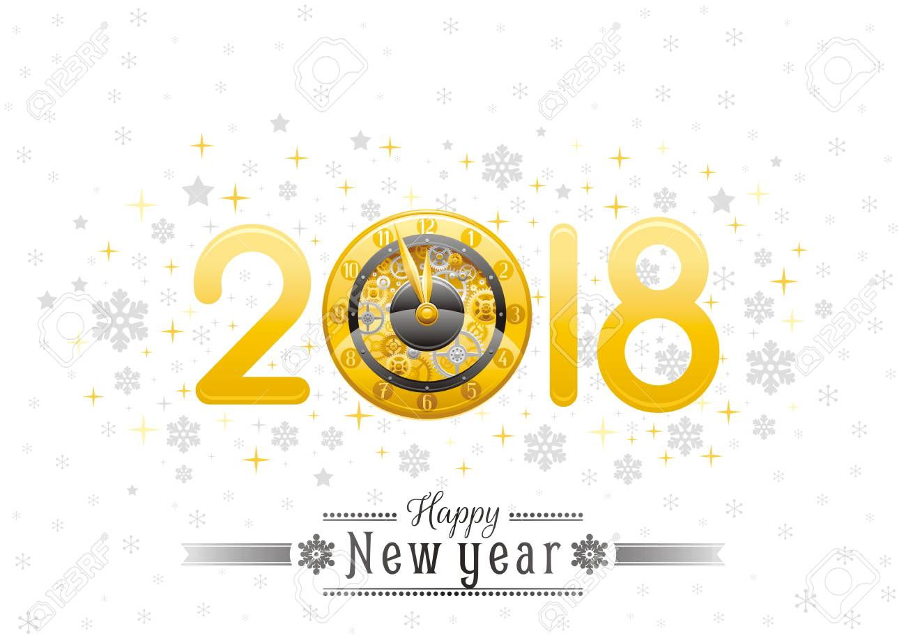 Happy New Year 2018 Silver Golden Logo Icon. Vector Poster With ...