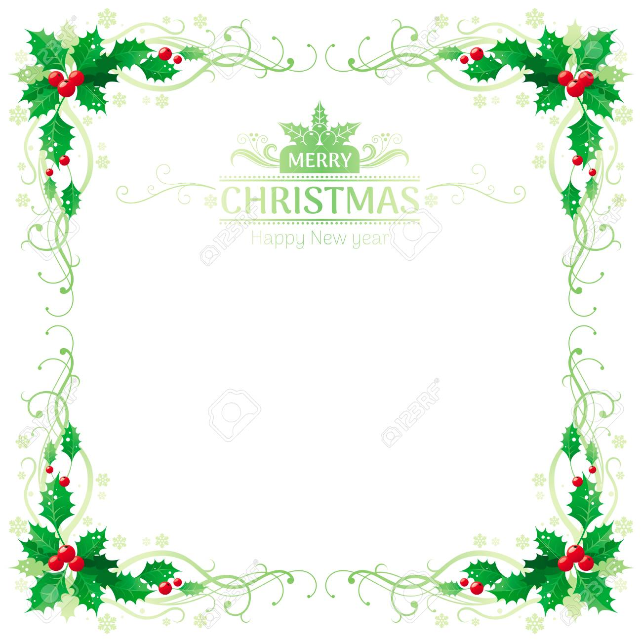 merry christmas and happy new year square border frame with holly berry leafs text lettering