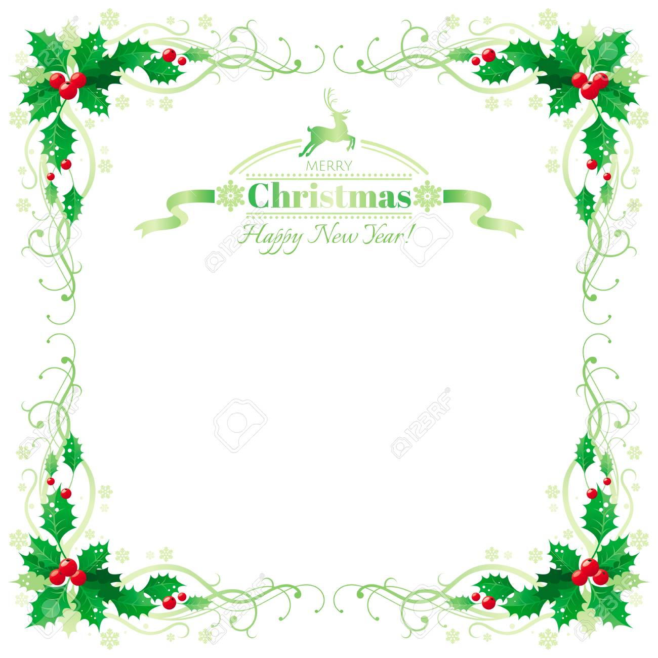 merry christmas and happy new year border frame with holly berry leafs text lettering reindeer