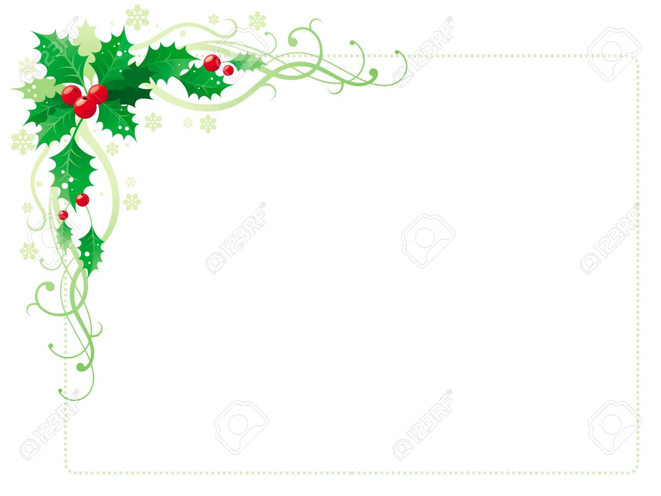 merry christmas and happy new year corner horizontal border banner with holly berry leafs isolated