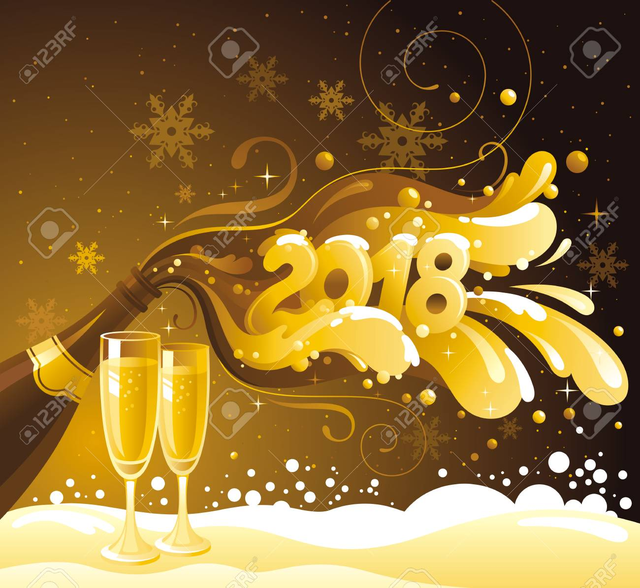golden new year banner design with sparkling champagne wine bottle and glasses stock vector