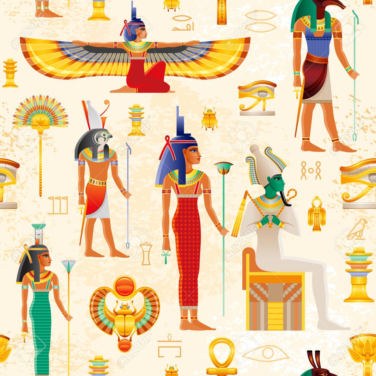 Egyptian vector seamless papyrus pattern with Osiris myth characters - god Osiris, Set, Horus, goddess Isis, Nephthys, pharaoh element - Ankh, Scarab, Tyet, eye Wadjet. Ancient historic art form Egypt - 148128374