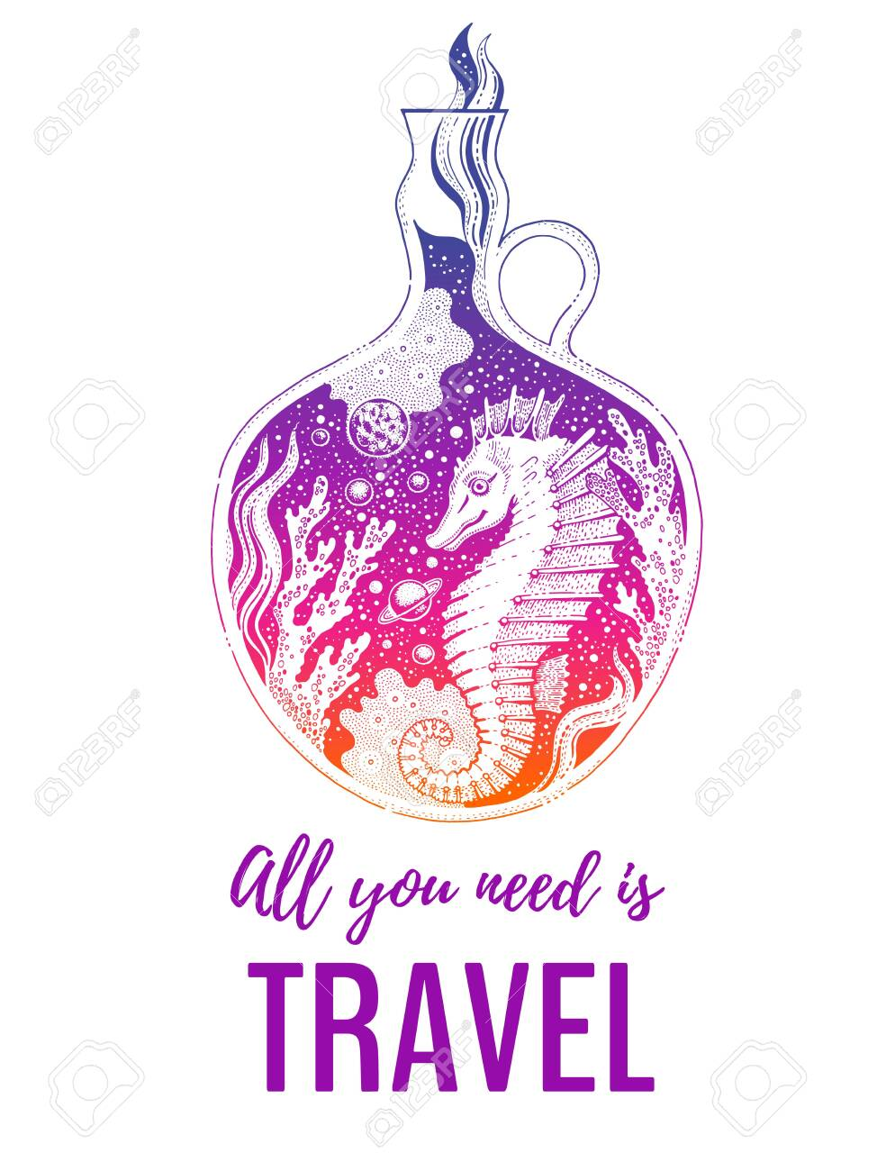 Surreal Sketch Poster Sea Horse Animal Design Concept Vintage Royalty Free Cliparts Vectors And Stock Illustration Image 148400467