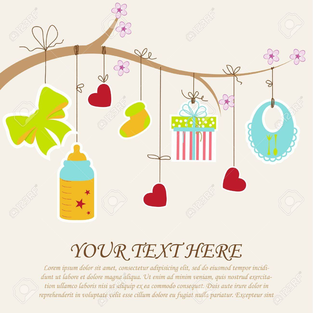 Greeting with a baby elements  Vector illustration Stock Vector - 12913783