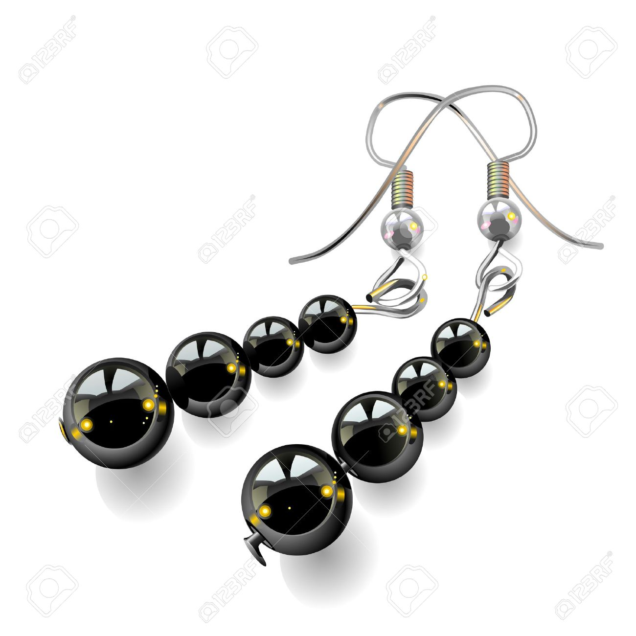 women's jewelry, earrings with black stones isolated on white background, vector, illustration, drawing Stock Vector - 8627494