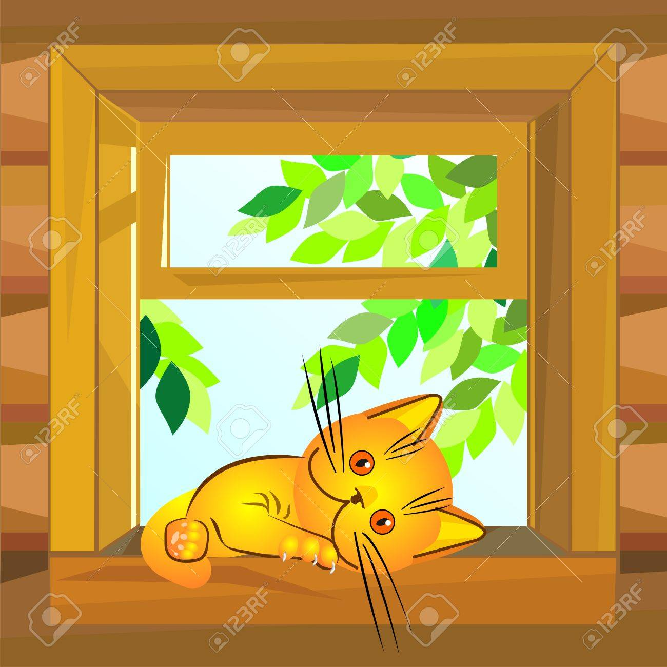 red cat on a summer day lies on a windowsill at the open window wooden farmhouse Stock Vector - 8627491