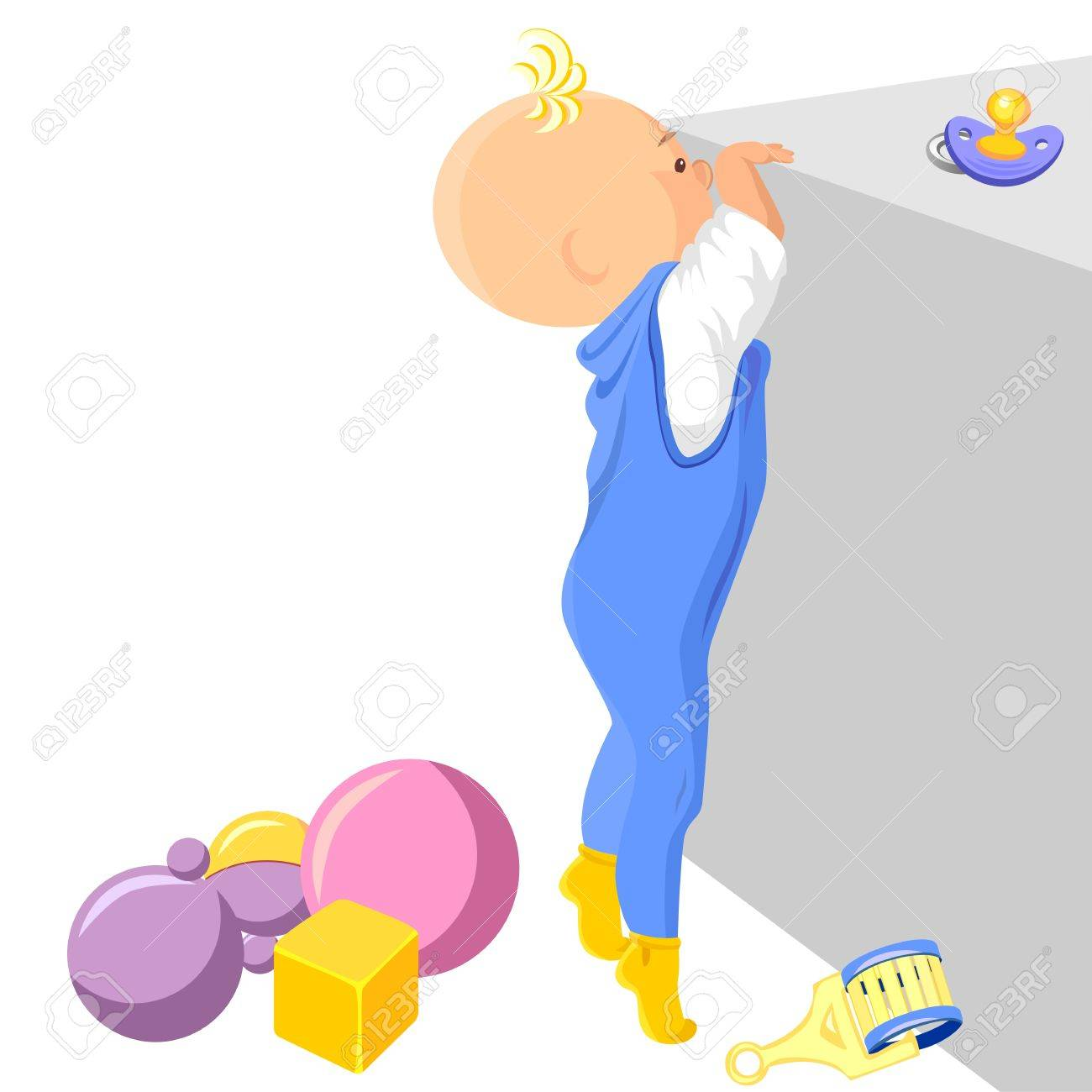 boy stands on tiptoe and tries to get into the drawer Stock Vector - 8886727
