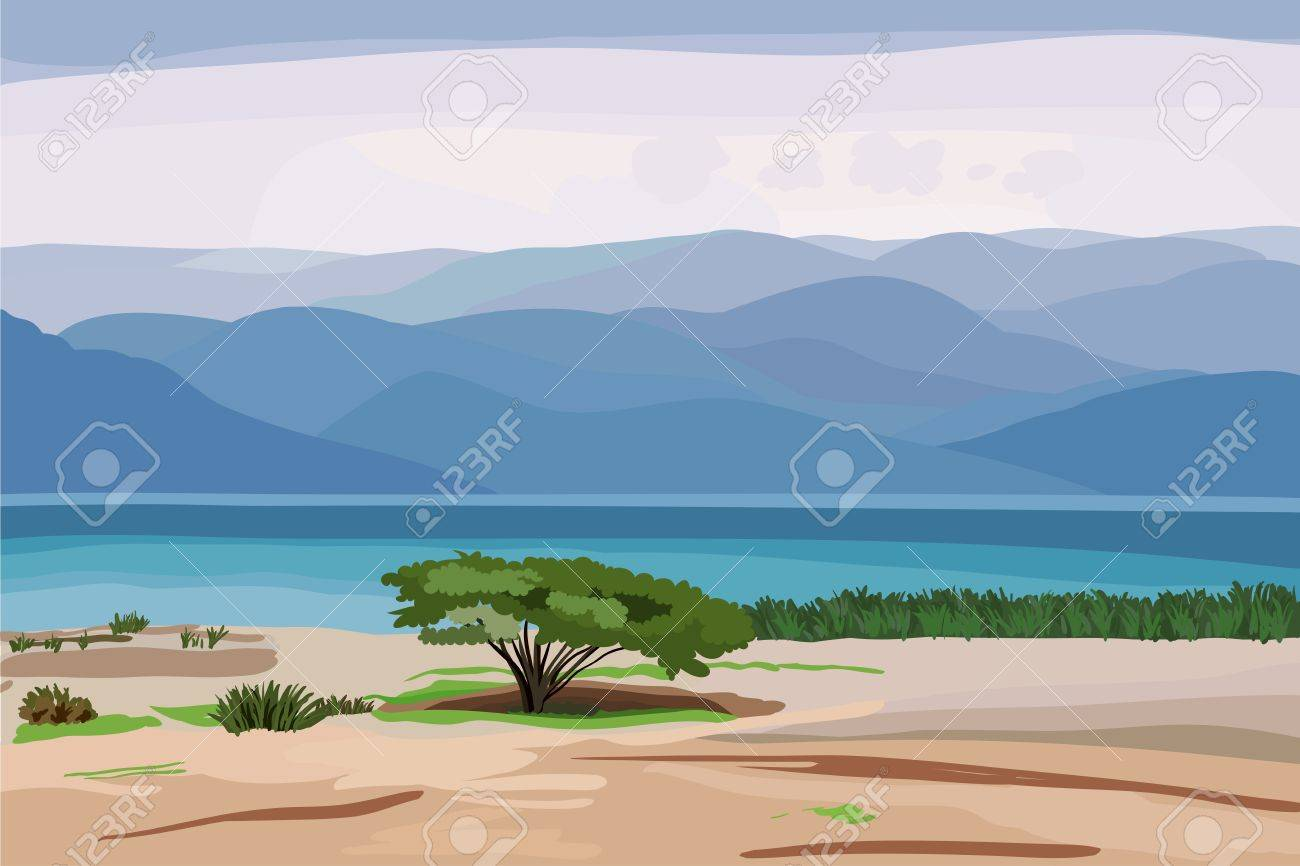 beautiful seascape in pastel shades with a lone tree on the shore and the high mountains in the distance Stock Vector - 9091529