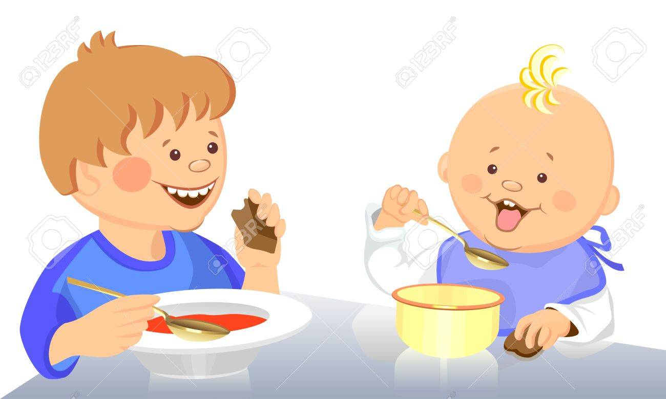cute little boy and baby eat with a spoon from a bowl Stock Vector - 9399013