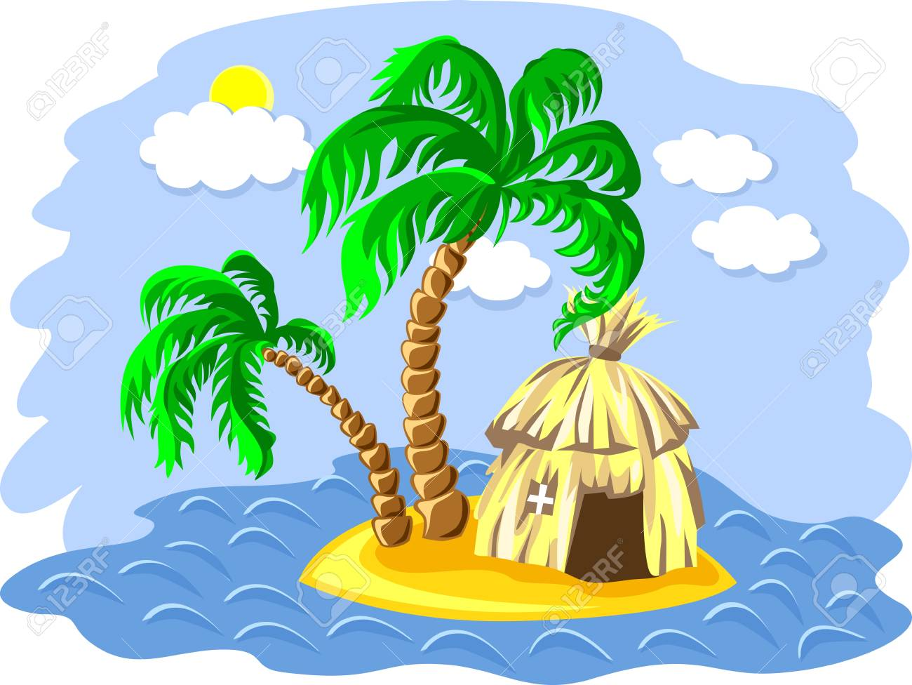 tropical landscape of the island in the ocean and two palm trees and hut Stock Vector - 9604225