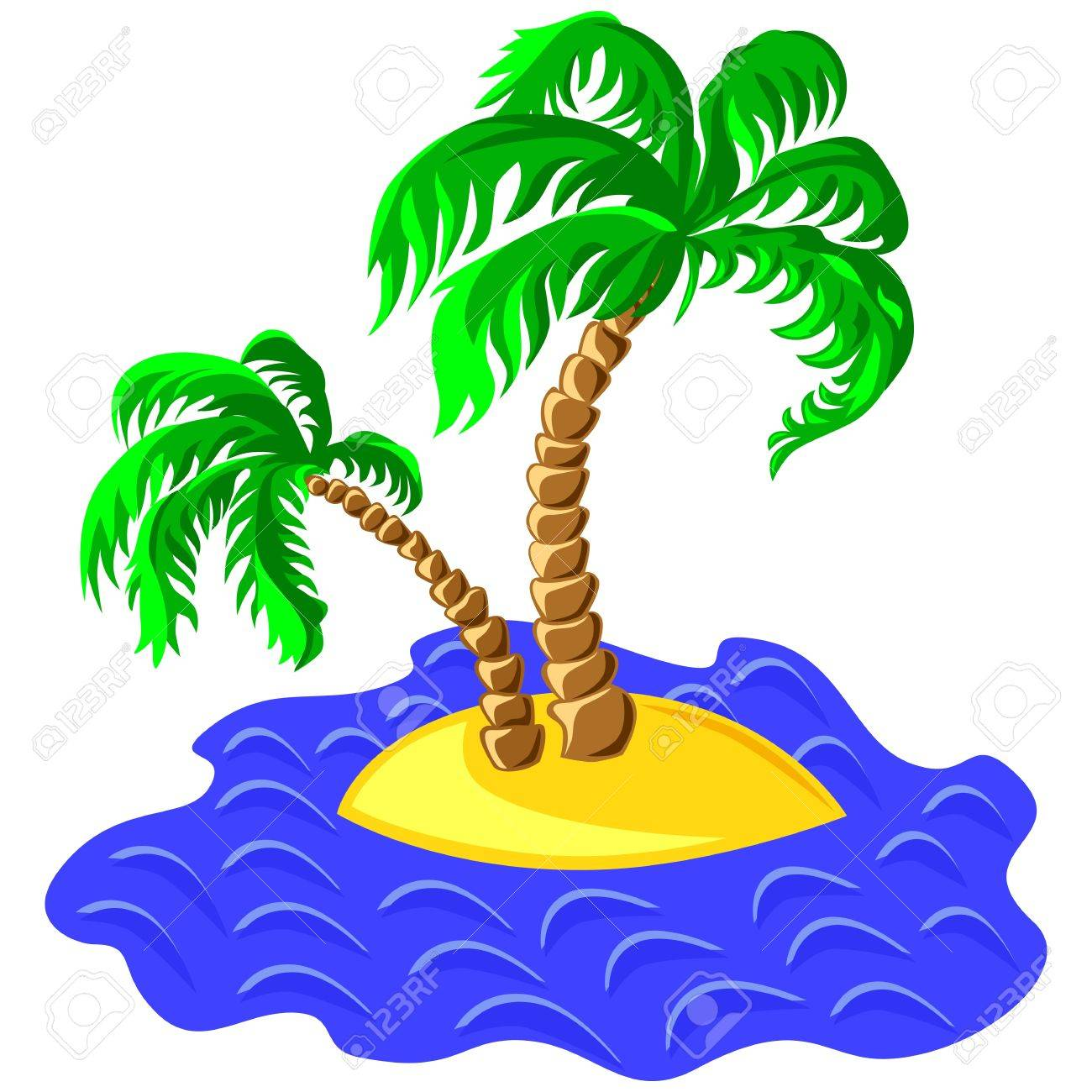 tropical landscape of the island in the ocean and two palm trees Stock Vector - 9604224