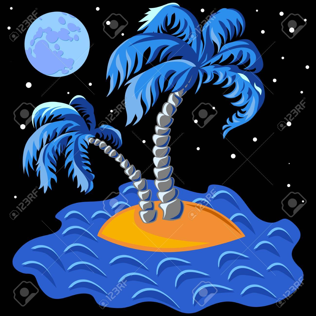 tropical landscape of the island in the ocean and two palm trees at midnight Stock Vector - 9604231