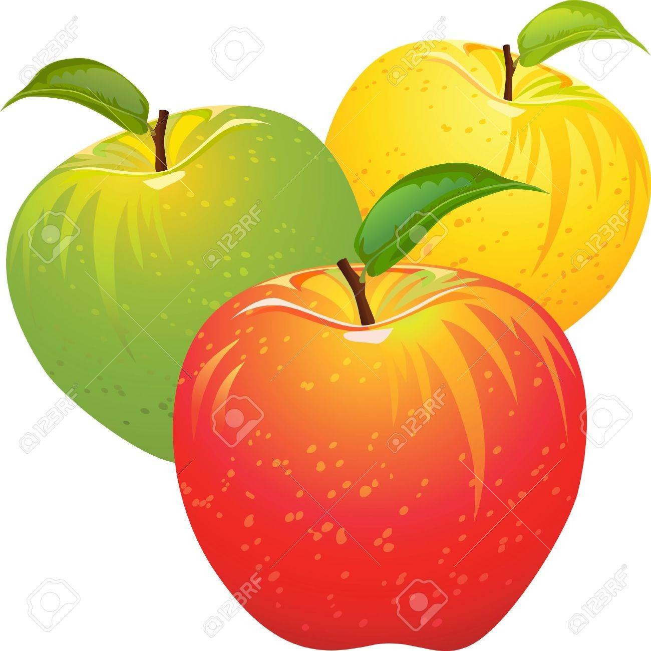 green and red apples clipart. set of red, yellow, green, ripe, juicy apples isolated on a white green and red clipart