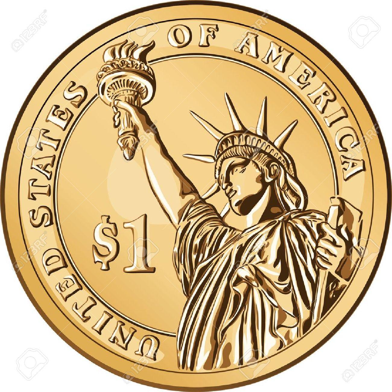 Amerikanisches Geld Ein Dollar Münze Mit Dem Bild Der Statue Of