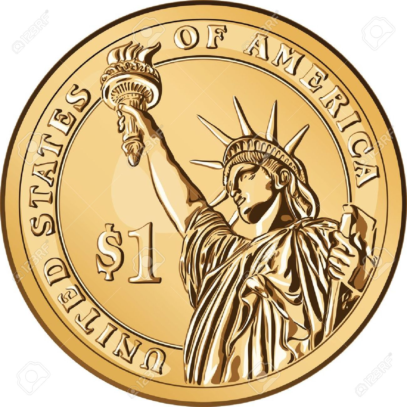American money, one dollar coin with the image of the Statue of Liberty - 10021280