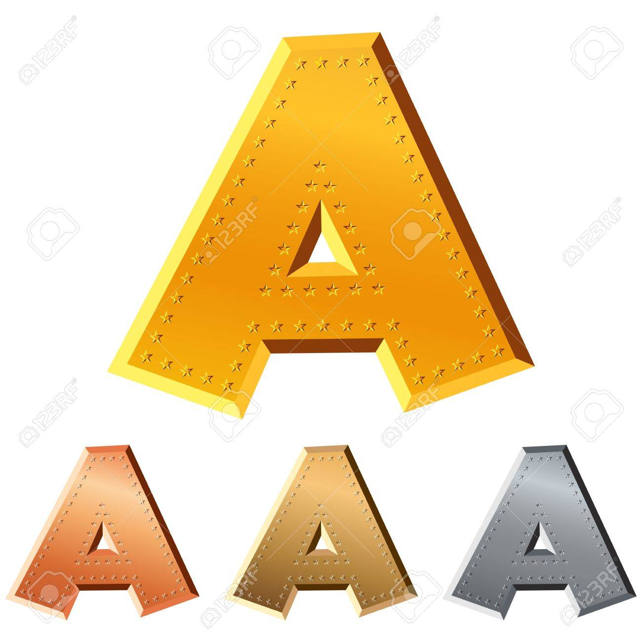 set of gold, silver, copper, bronze letter A decorated with stars isolated on white background Stock Vector - 10312687