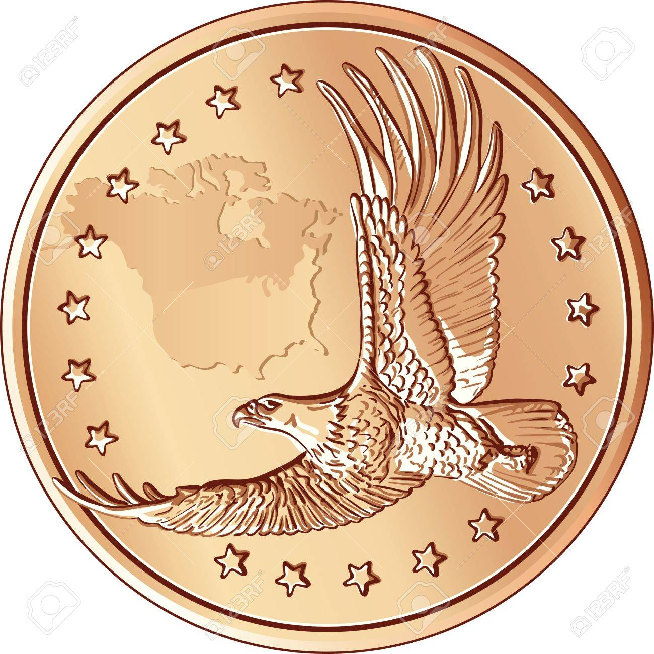 Dollar coins with the image of a flying eagle and stars Stock Vector - 10412924