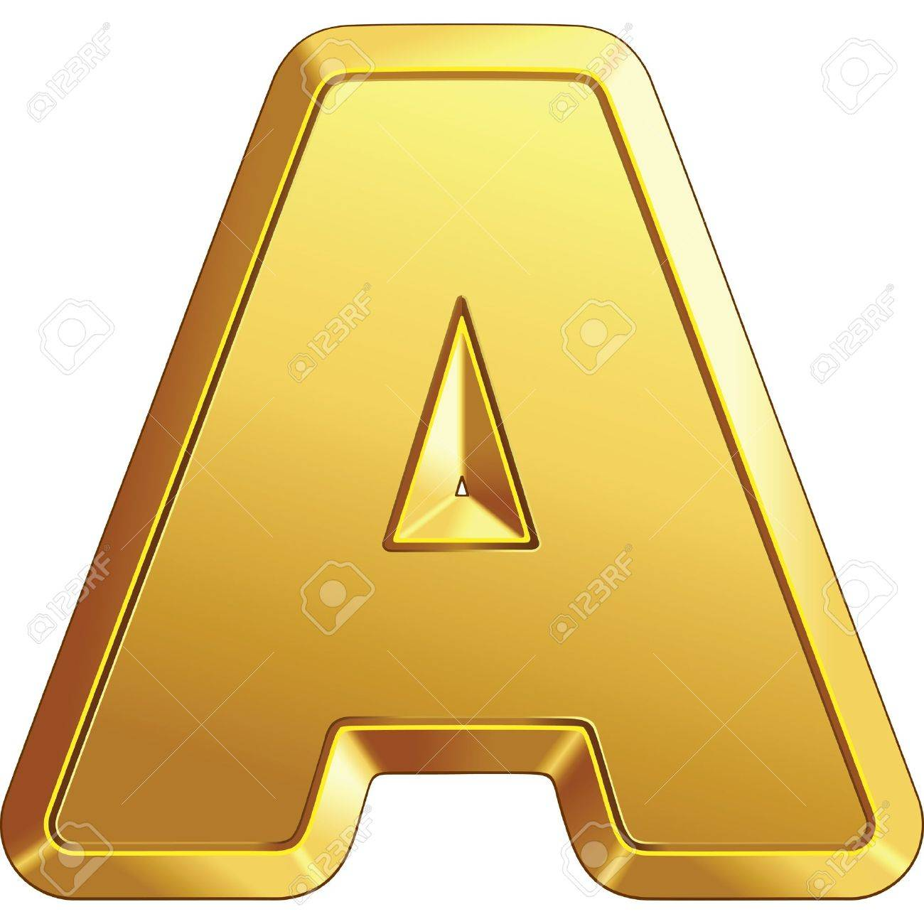 gold bar letter A isolated on white background Stock Vector - 11011869