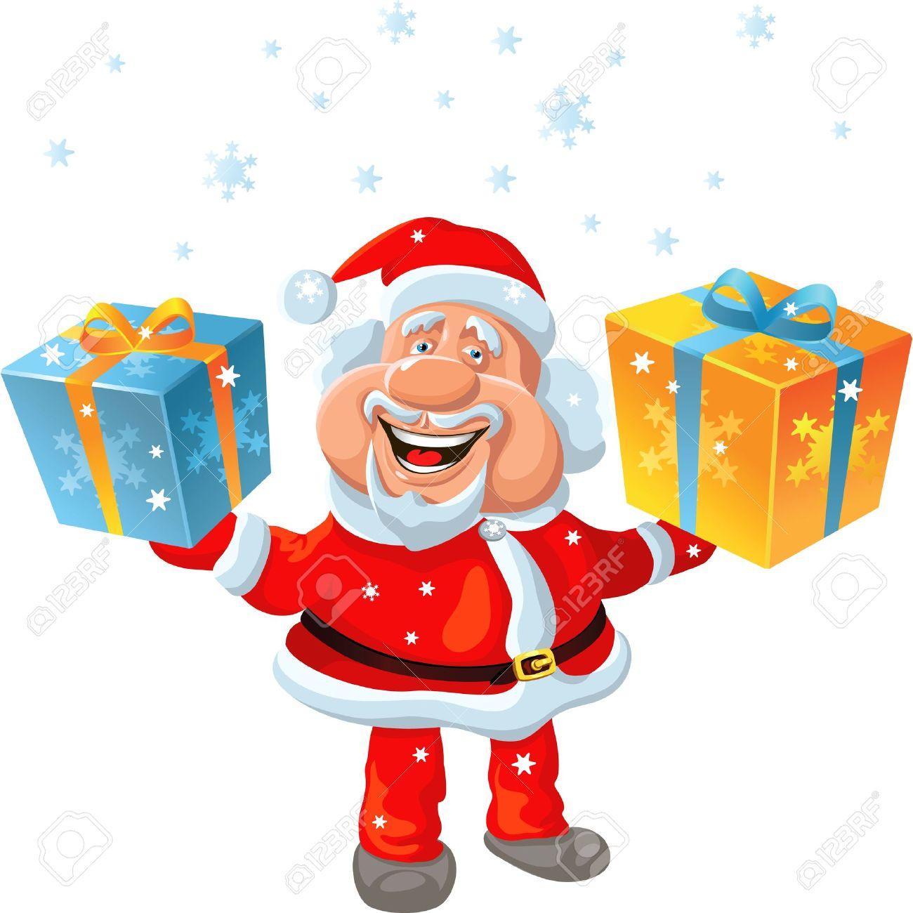 funny cartoon santa claus holding a gift stock vector 11067694 - Santa Claus Gifts