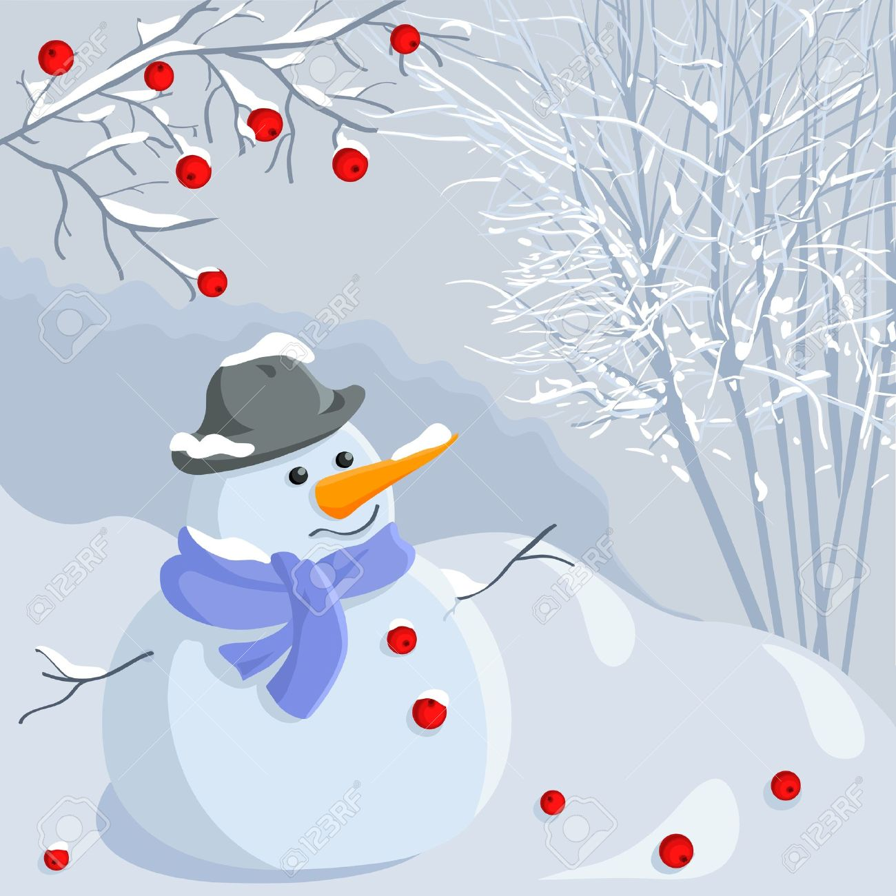 funny snowman in a hat and scarf on the background of a winter forest under a branch of mountain ash, in pastel shades of blue with bright red accents Stock Vector - 11067697